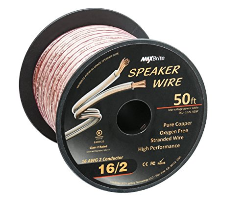 High Performance 16 Gauge Speaker Wire, Oxygen Free Pure Copper - UL Listed Class 2 (50 Feet Spool) by MaxBrite