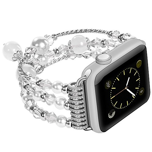 For Apple Watch Band Stainless Steel Metal Bracelet Replacement iWatch Jewelry Wristband Bling Bands for Apple Watch Series 3, Series 2, Series 1, Sport and Edition 38mm Pearl White - Pears Big Three