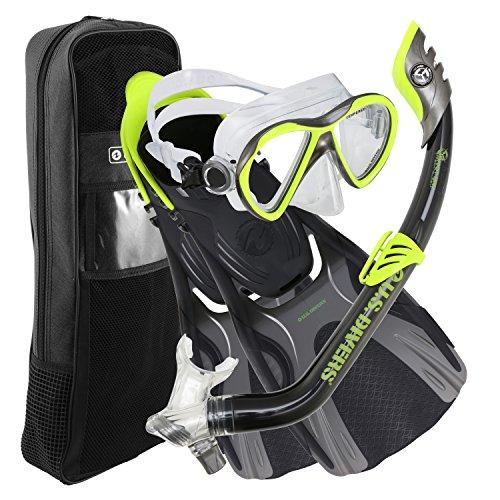 U.S. Divers Flare JR Mask Fins Snorkel Set, Neon Black, - Composite Mask Snorkeling
