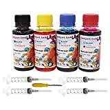 QINK Dye Refill Ink for Canon PG-245 PG-245XL Black CL-246 CL-246XL Color Ink Cartridge 4x100ml (Black Cyan Magenta Yellow) High Yield with Instruction for Canon PIXMA MG2520 iP2820 Printer