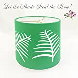 8 inch Lampshade with Palm Leaves Cut into Kelly Green Fabric