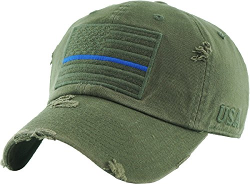 KBVT-209 OLV (Blue LINE) Tactical Operator with USA Flag Patch US Army Military Baseball Cap Adjustable ()