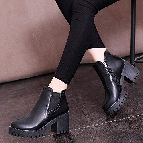 hauts sport Noir chaussures pour Couleur Uk épais Gris talons à taille femmes Zhrui d'hiver décontractées talons bottes de 5 FWHfqEX8cU