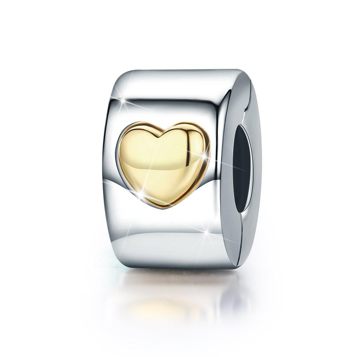 en argent sterling 925 Breloque /à clip avec c/œur mod/èle Love You Forever breloque darr/êt pour bracelets europ/éens de type ou autres bracelets /à breloques