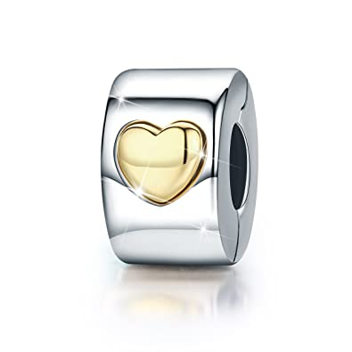 Heart Clip Charm Love you Forever 925 Sterling Silver Lock Spacer Stopper Bead Charm for European Pandora Charms Bracelet BJ09005