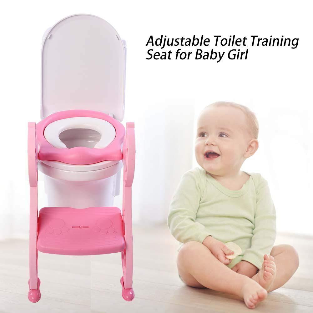 Toilettensitz f/ür Kinder Toilette Trainer Toilettensitz mit Stufe verstellbar mit Hocker f/ür Jungen und M/ädchen rosa