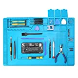 Repair Mat, Lifegoo Heat Insulation Silicone Soldering Pad with Scale Ruler and Screw Position, Electronics Repair Pad for Soldering Iron, Repair Watch,Phone and Computer Size:17.7 x 11.8 Inches - Blue