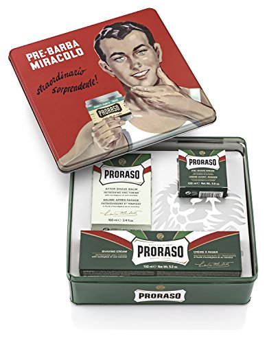 Proraso Vintage Gino Tin Gift Set, Refreshing and Toning Formula ()