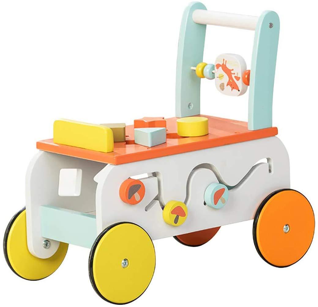 labebe Kinder 2 in 1 Lauflernwagen Holz Fuchs Baby Lauflernhilfe Kinder Push Pull Wagen Babywalker Kinderwagen ab 1 Jahre