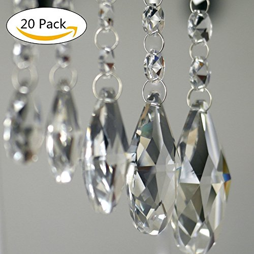 Pendants-Clear Teardrop Chandelier Crystal Pendants Glass Pendants Beads Pack of 20 (38mm, (Glass Bead Trim)