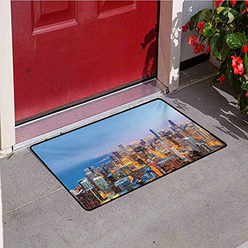 Chicago Skyline Commercial Grade Entrance mat Aerial View of Town with Michigan Lake Vibrant City Panorama Evening Time for entrances garages patios W29.5 x L39.4 Inch Multicolor ()
