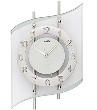 Amazon.de: AMS. design Funkuhr, geschwungene Funk-Wanduhr in Silber ...