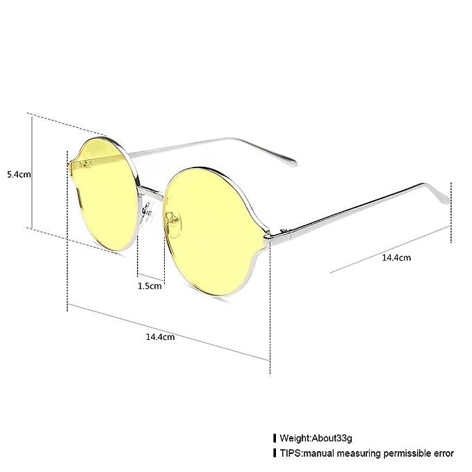 Boite Ronde Personnalité Ronde Lunettes de Soleil en Forme de Citron Lunettes de Soleil Pour Hommes Lunettes de Soleil Pour Marée , argent et jaune