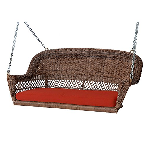 Jeco W00205S-C-FS018 Wicker Porch Swing, Honey