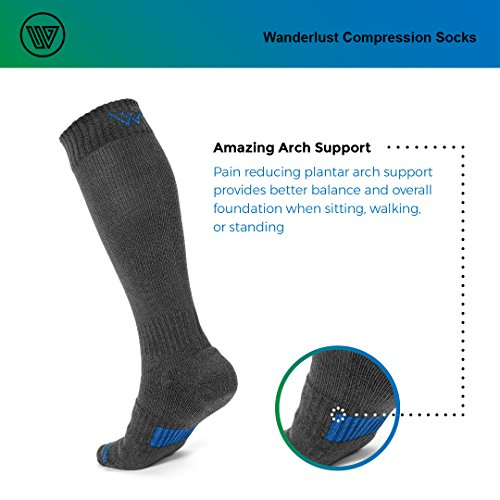 Wanderlust Compression Socks For Men & Women - Guaranteed Support To Eliminate Pain, Swelling, Edema - Best For Flight, Travel, Nurses, Maternity, Pregnancy, Varicose Veins, Stamina & Pain Relief. by Wanderlust (Image #5)