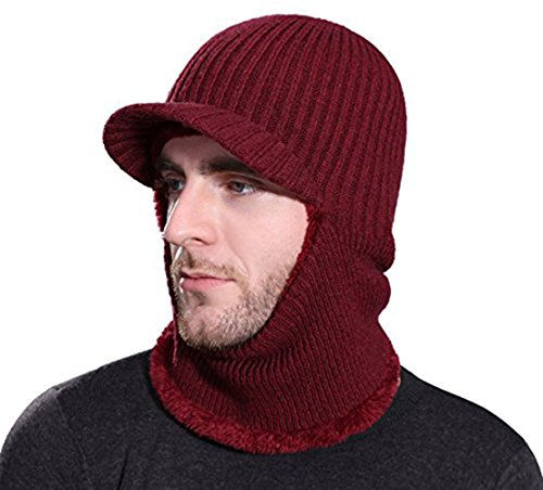 Rgslon Winter Tuque Knit Ninjia Cap Visor Windproof Ski Face Mask Warm Fleece Balaclava Beanie Hat (Wine Red)