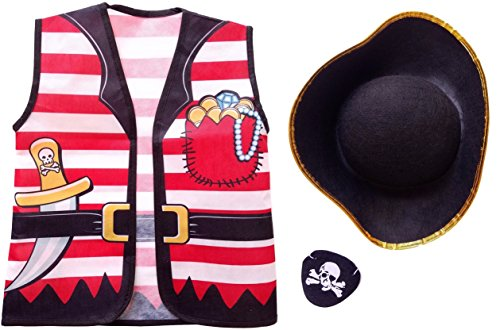 Child Pirate Halloween Costume Dress Up - Felt Hat, Vest, and Eye Patch (Girls Pirate Dress Up)