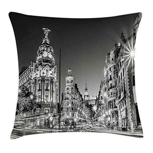 YVSXO Black and White Decorations Throw Pillow Cushion Cover, Madrid City Night Spain Main Street Ancient Architecture, Decorative Square Accent Pillow Case, 18 X 18 Inches, Grey (Madrid Accent Chair)