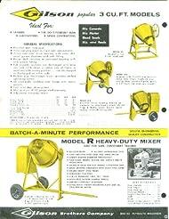 Gilson Batch-a-Minute Cement Mixers sellsheet 1950s