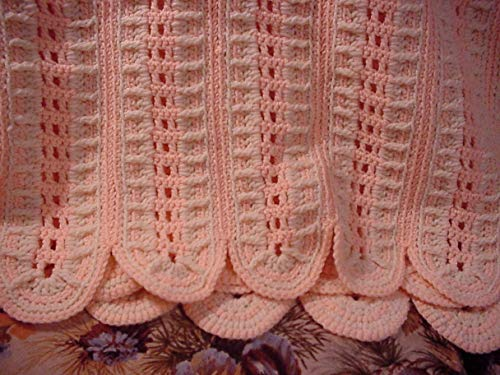 Off White (Aran) and Light Coral Crocheted Afghan 47 Inches X 72 Inches