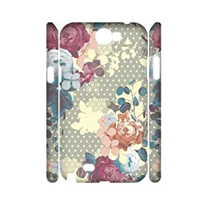 3D {FLORAL PATTERN Series} Samsung Galaxy Note 2 Cases 17daa7024dcacd8c8dc5cb16881a0d8e, Case Vety - White