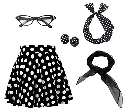 50's Costume Accessories Set Girl Vintage Dot Skirt Scarf Headband Earrings Cat Eye Glasses for Party (L, Black)
