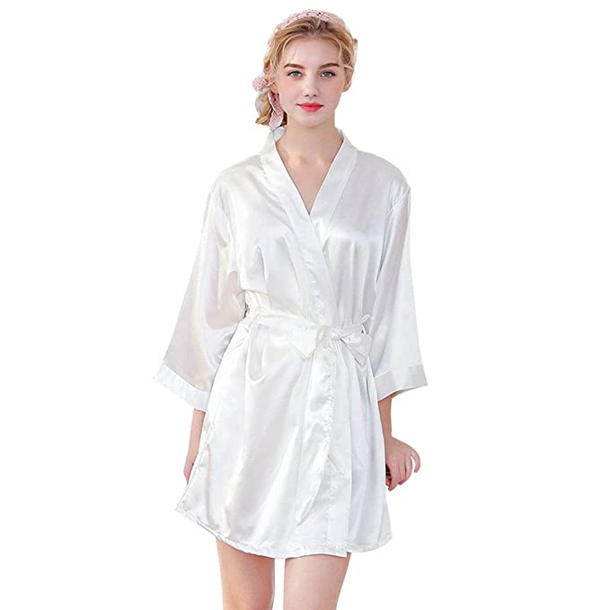 TT Global Mujer Kimono Pijama Corto Bata de Satén Kimono Mujer Batas Cortos Brillante, 2019