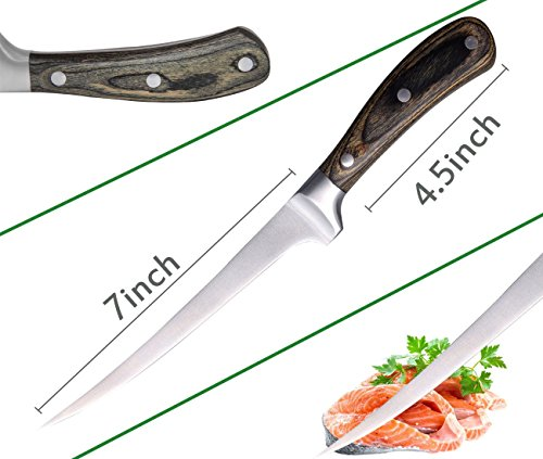 JSHANMEI Fishing Fillet Knife Sashimi Sushi Knife Stainless Steel Blade Kitchen Knife with Sharpener and Sheath (7 inch Wood Handle) by JSHANMEI (Image #2)