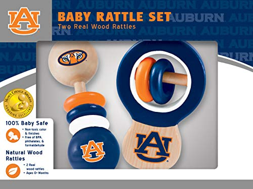 MasterPieces NCAA Auburn Tigers Baby Rattle, 2-Pack