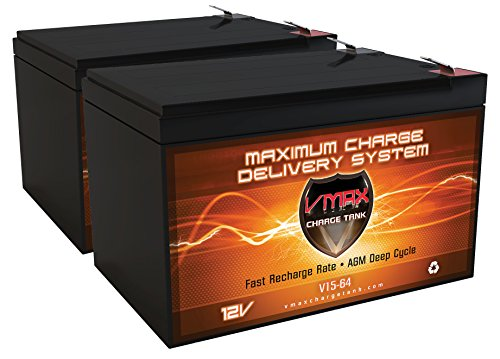QTY 2 VMAXMB64 AGM Deep Cycle Battery Replacement for Go Go Travel Mobility Ultra X SC40X, SC44X 12V 15Ah Wheelchair Battery by VMAX Scooter