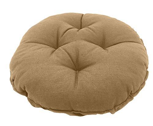 Sigmat Bar Stool Cushion Round Tufted Stool Cover 18 Inch Khaki (Cushion Canvas Bar Stool)