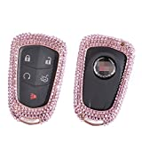 [M.JVisun] Handmade Car Key Fob Cover For Cadillac ATS-L CT6 XTS XT5 CTS SRX ESCALADE Remote Key Engine Start Stop, Diamond Car Key Case, Aircraft Aluminum + Genuine Leather + Bling Crystal - RoseGold