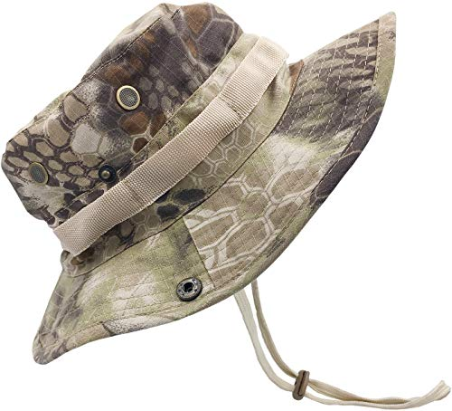 LCZTN Boonie Sun Hat for Men & Womens Wide Brim Bucket Hat with UV Protection UPF 50+ Outdoor Military Cap for Fishing,Hiking,Hunting,Safari & Gardening (Highlander)