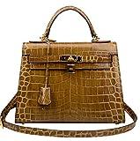 Ainifeel Women's Padlock Crocodile Embossed Patent Leather Shoulder Handbags (28cm, Khaki green)