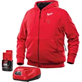 Milwaukee Hoodie M12 12V Lithium-Ion Heated Jacket KIT Front and Back Heat Zones -All Sizes and Colors - Battery and Charger Included - (Large, Red)
