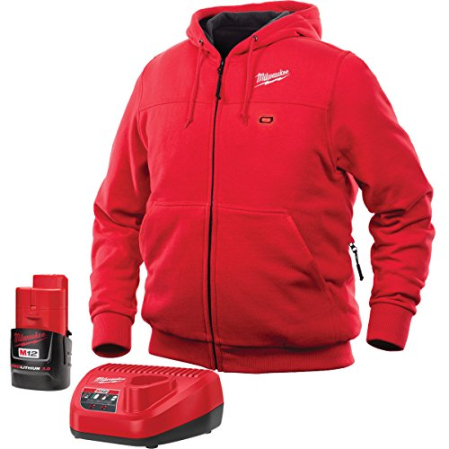 Milwaukee Cordless Level (Milwaukee Hoodie M12 12V Lithium-Ion Heated Jacket KIT Front and Back Heat Zones -All Sizes and Colors - Battery and Charger Included - (Extra Large, Red))