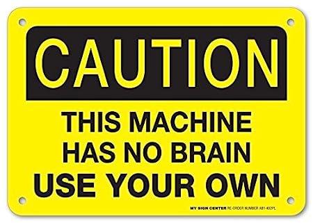 Riongeeo Caution Esta máquina no Tiene Brain USA tu Propio ...