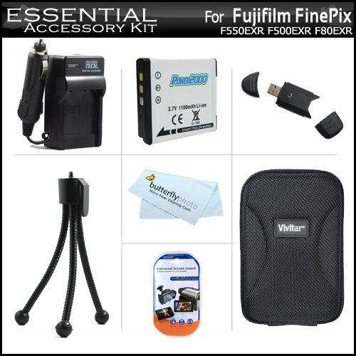 (Essential Accessory Kit For Fujifilm FinePix F550EXR F500EXR F80EXR F600EXR F505 Digital Camera Includes Replacement (1100Mah) NP-50 Battery + AC/DC Rapid Travel Charger + Hard Case + USB 2.0 SD Reader + Screen Protectors +More)