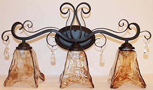 Bellagio Crystal (3 light Dark Bronze vanity light with amber hand blown glass with crystals)