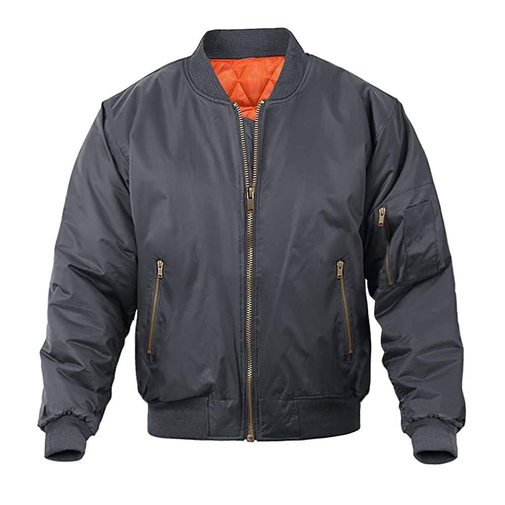 MAGNIVIT Men's Fall Winter Outerwear Flight Bomber Jackets Full Zip Up Varsity Jacket Dark Grey by MAGNIVIT