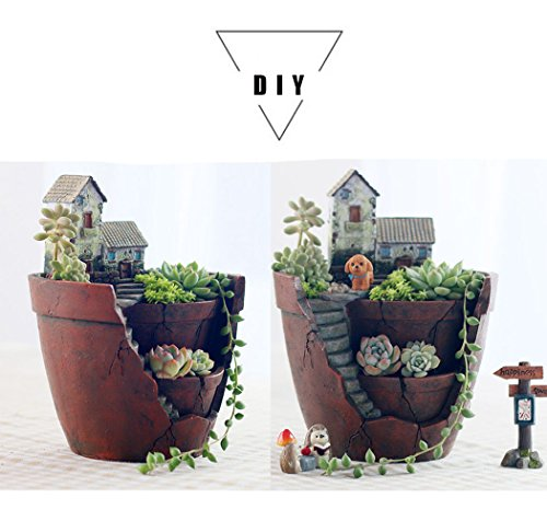 Plant Pot, Hgrope Mini Size Creative Fairy Garden Plant Containers, Hanging Garden Design with Sweet House for Flowers and Plants by Hgrope (Image #6)