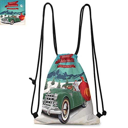 Christmas Drawstring backpack series Santa Claus in a Classic Car with Bag of Toys Snow Winter Starry Night New Year Convenient choice for daily activities W13.4 x L8.3 Inch Teal Red