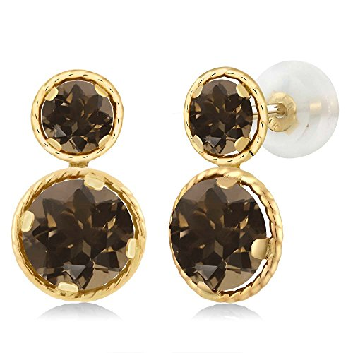 (Gem Stone King 2.12 Ct Round Brown Smoky Quartz 14K Yellow Gold Earrings)