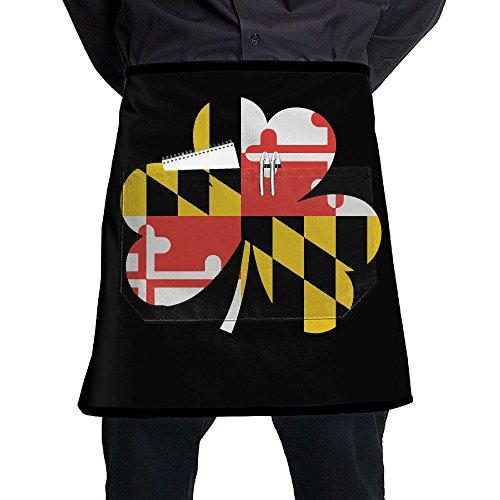 Men Women Maryland Flag Four Leaf Clover Adjustable Bib Kitchen Apron With Front Pocket
