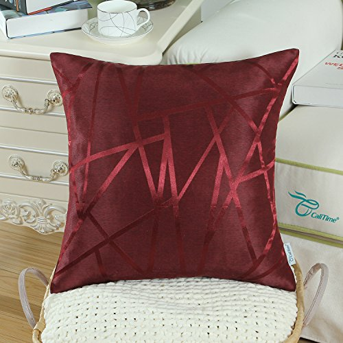 Pack of 2 CaliTime Throw Pillow Covers Cases for Couch Sofa Home Decor, Modern Triangles Abstract Lines Geometric, 18 X 18 Inches, Burgundy