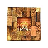 Indian Heritage Wooden Photo Frame 4x4 Mango Wood Block Design in Dark wood Finish