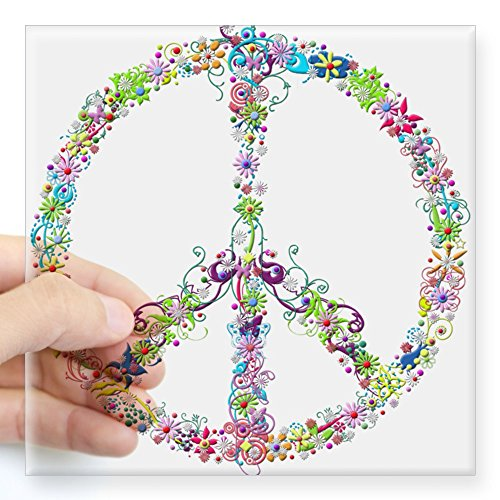 CafePress Peace of Flowers Sticker Square Bumper Sticker Car Decal, 3