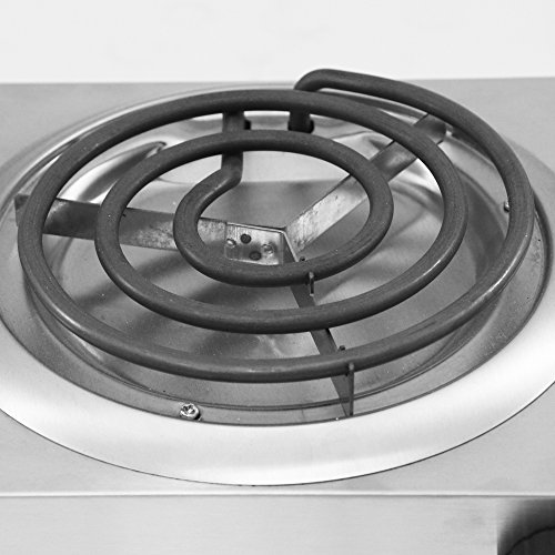 Review Elite Cuisine Electric Double Coil Burner Hot Plate, Stainless Steel