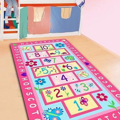 LELVA Fashion Hopscotch Kids Carpet Bedroom,Sweet Pink Rug,Designer Figure Children's Rugs: Toys & Games