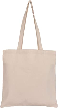Thepaperbagstore 5 Reusable Shopping Medium Tote Bags 100% Cotton Canvas with Strong Matching Handles Natural Colour 380mmx400mm